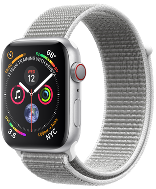 Apple Watch GPS + Cellular 44mm Silver Aluminum Case with Seashell Sport Loop (MTVT2)