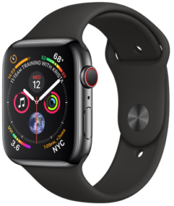 Apple Watch Series 4 GPS + Cellular 44mm Space Black Stainless Steel Case with Black Sport Band (MTX22)