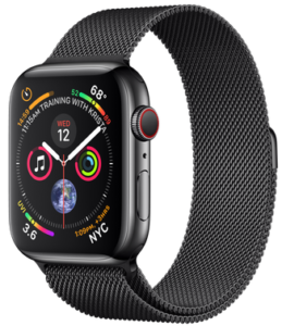 Apple Watch Series 4 GPS + Cellular 44mm Space Black Stainless Steel Case with Space Black Milanese Loop (MTX32)