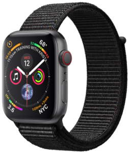Apple Watch Series 4 GPS + Cellular 44mm Space Gray Aluminum Case with Black Sport Loop MTVV2