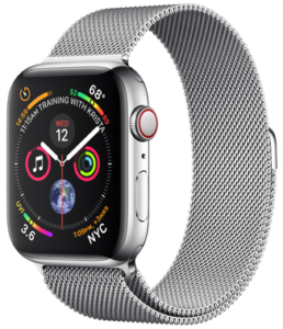 Apple Watch Series 4 GPS + Cellular 44mm Stainless Steel Case with Milanese Loop (MTX12)