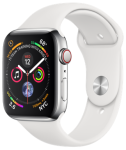 Apple Watch Series 4 GPS + Cellular 44mm Stainless Steel Case with White Sport Band (MTX02)