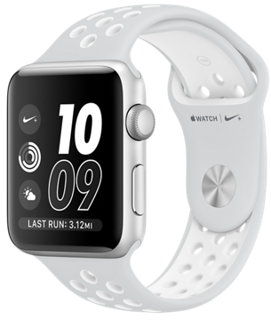 Apple Watch Nike Series 3 42 mm Silver Aluminum Case with Pure Platinum/White Nike Sport Band MQ192
