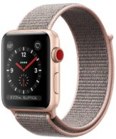 Apple Watch Series 3 GPS + Cellular 38mm Gold Aluminum Case with Pink Sand Sport Loop MQJU2