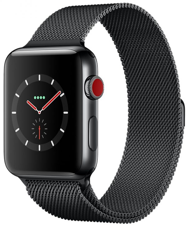 Apple Watch Series 3 GPS + Cellular 38mm Stainless Steel Case with Space Black Milanese Loop MR1H2