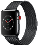 Apple Watch Series 3 GPS + Cellular 42mm Stainless Steel Case with Space Black Milanese Loop MR1L2