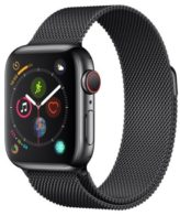 Apple Watch Series 4 GPS + Cellular 40mm Space Black Stainless Steel Case with Space Black Milanese Loop (MTVM2)