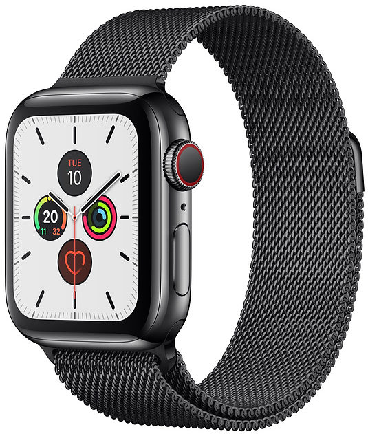 Apple Watch Series 5 44mm GPS + Cellular Space Black Stainless Steel Case with Space Black Milanese Loop (MWW82)