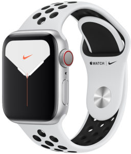 Apple Watch Nike Series 5 44mm GPS + Cellular Silver Aluminum Case with Pure Platinum/Black Nike Sport Band (MX3E2)