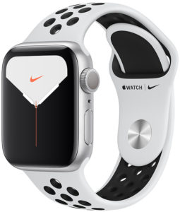 Apple Watch Nike Series 5 44mm GPS Silver Aluminum Case with Pure Platinum/Black Nike Sport Band (MX3V2)