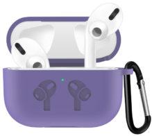 Чехол для AirPods PRO silicone logo с карабином /lavender gray/