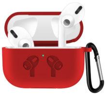 Чехол для AirPods PRO silicone logo с карабином /red/