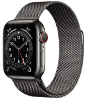 Apple Watch Series 6 GPS + Cellular, 44mm Graphite Stainless Steel Case with Graphite Milanese Loop (M07R3)