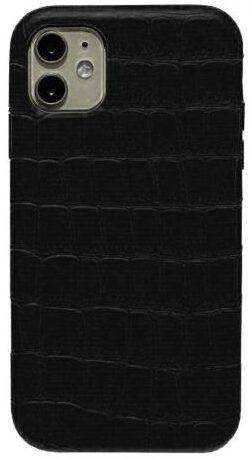 Чехол iPhone 12/12 Pro Leather crocodile case - Черный